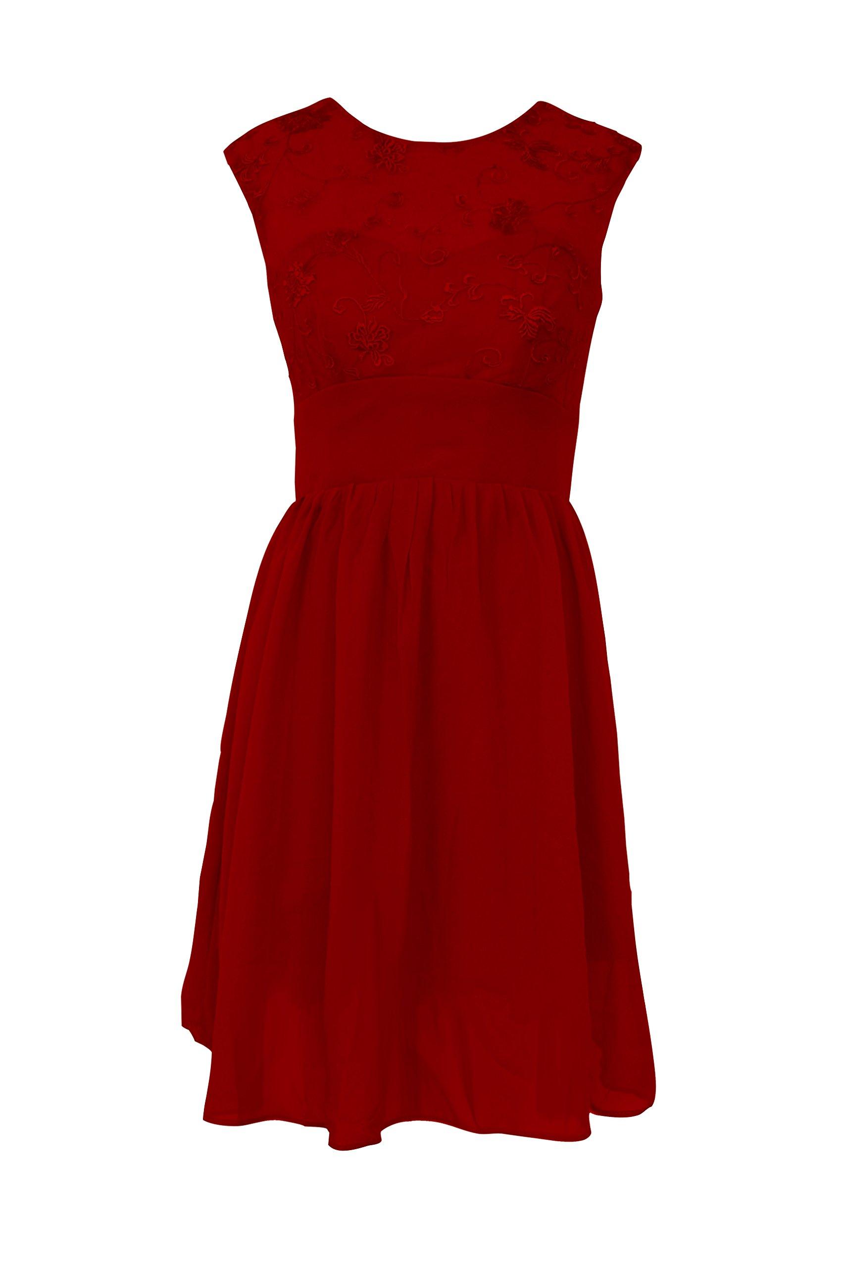 CaliaDress Women Sleeveless See-Through Short Prom Bridesmaid Dress C011LF Burgundy US12