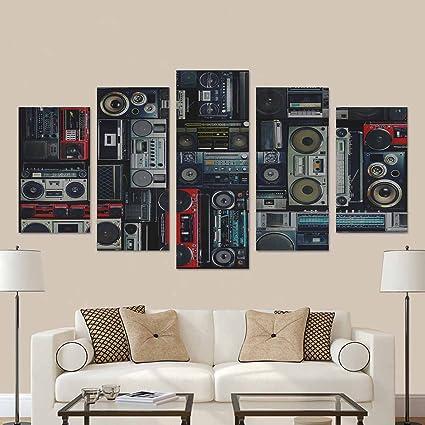 Amazon.com: InterestPrint Vintage Wall Full of Radio Boombox of the ...