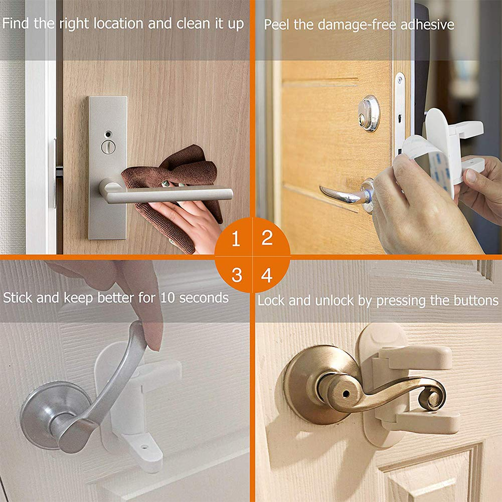 Door Lever Lock,2 Pack Child Proof Doors Handles by Mopoin,Child Safety Door Locks 3M Adhesive (White) by Mopoin (Image #7)