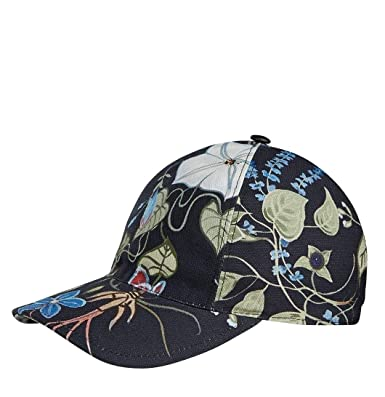 ce783436b73 Gucci Unisex Flora Knight Black Cotton Small Linen Baseball Hat 372689 1000