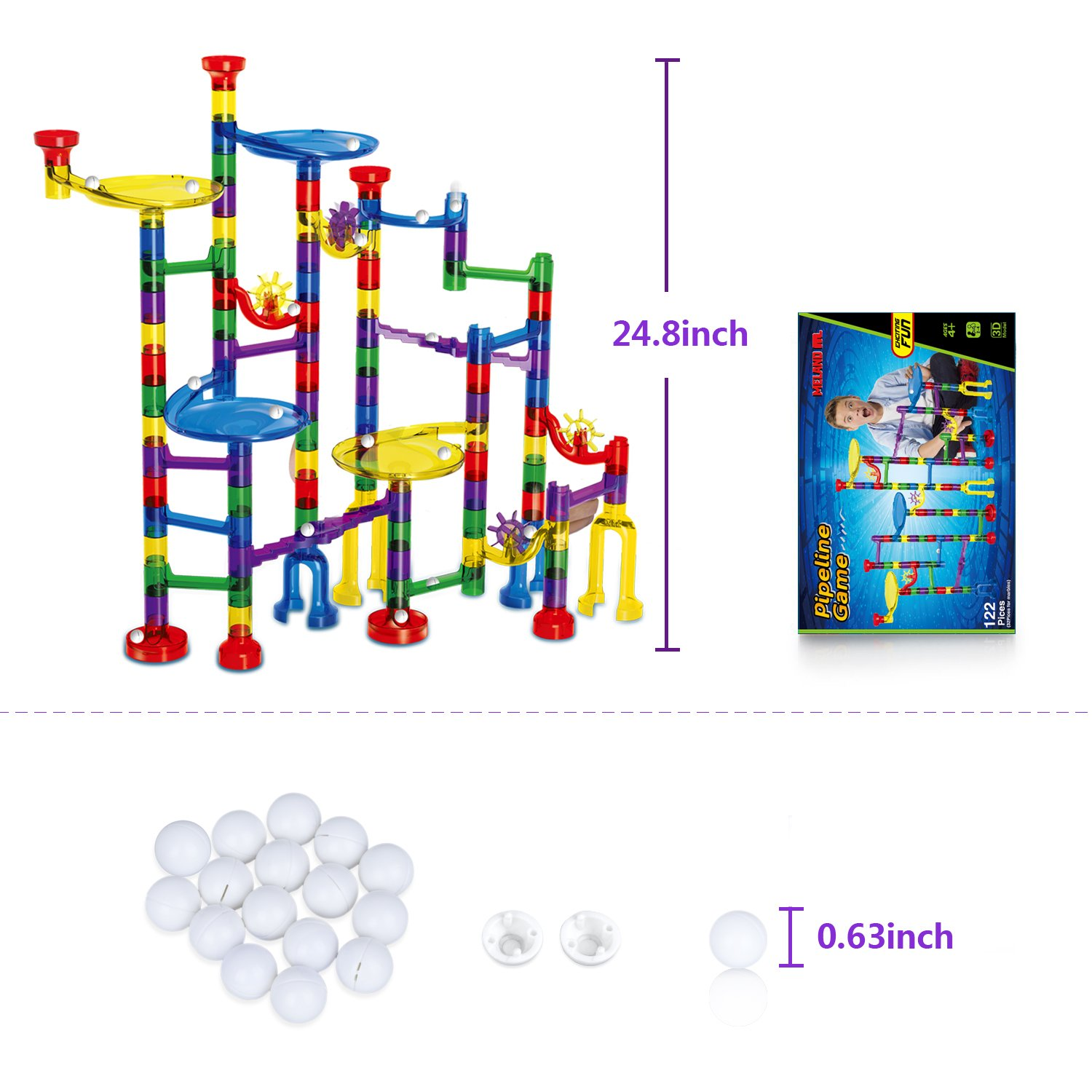 Meland Marble Run Toy 122 Pcs Marble Game STEM Learning Toy, Educational Construction Building Blocks Toy, Marble Set Gift for Kids 4 5 6 + Year Old Boys Girls by Meland (Image #7)