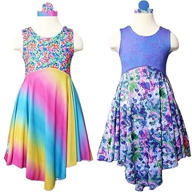 c2c2ab996 Image Unavailable. Image not available for. Color: TwirlyGirl Girls Tea  Party Dress Reversible Unique ...