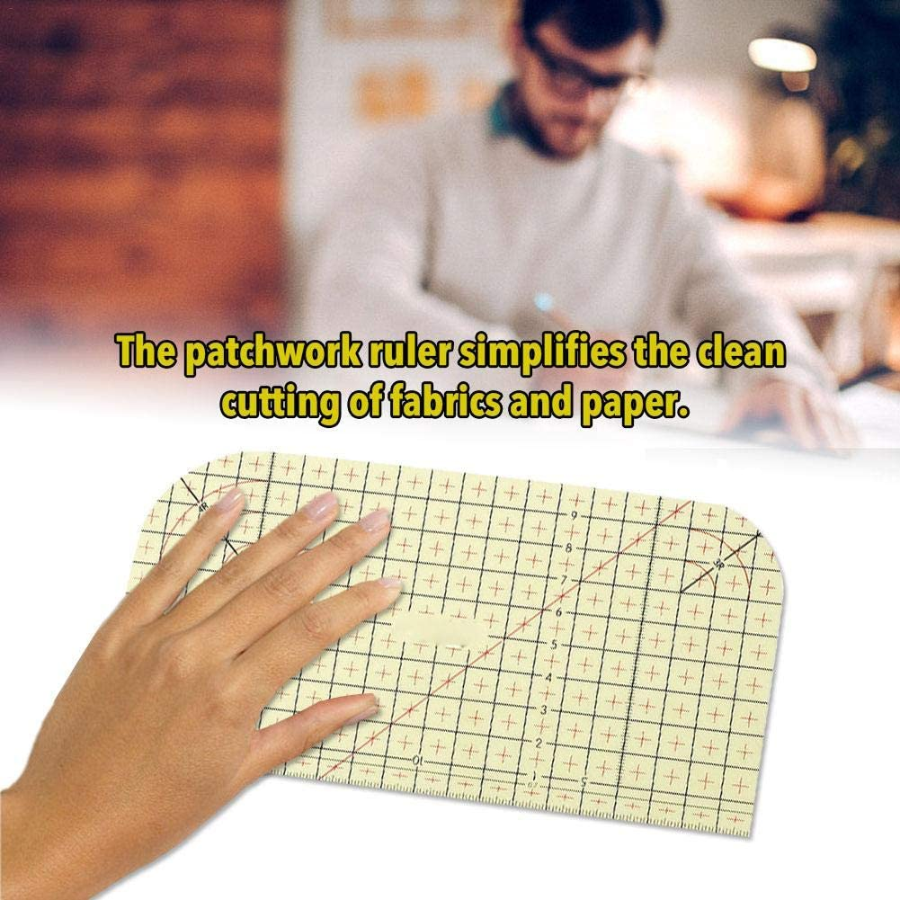 Hot Ironing Measuring Ruler,Patchwork and Quilting Rulers,Accurate Measurement Set Rule,7.87 x3.94inches,Resin Craft Ruler,Patchwork Tailor Tools for Clothing Making