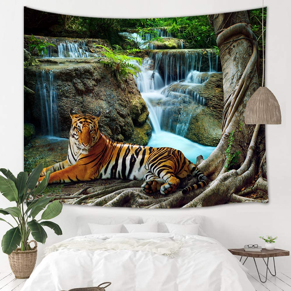 Tiger Waterfall Scenery Tapestry Psychedelic Wall Hanging Tapestries Home Decor