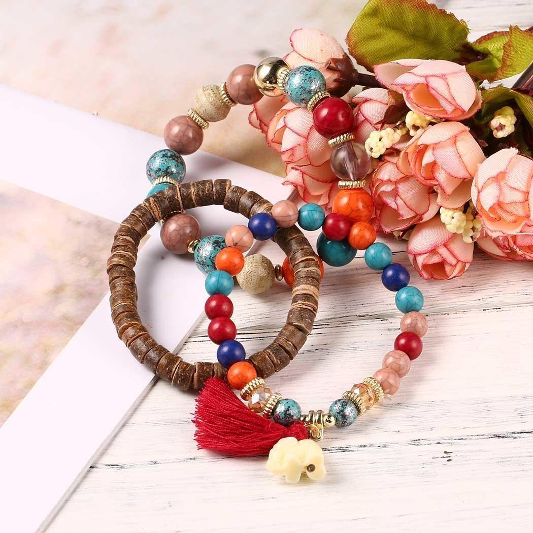 Goldenfox New Women Fashion Tassel Elephant Bangle Bracelet Beads Wristband Strand