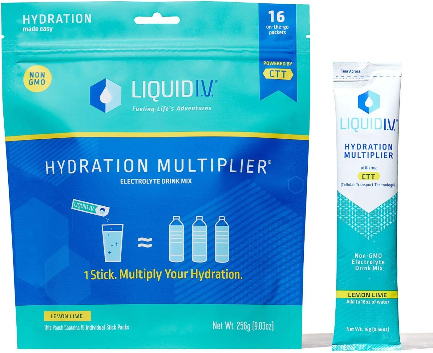 Liquid I.V. Hydration Multiplier, Electrolyte Powder, Easy Open Packets, Supplement Drink Mix (Lemon Lime, 16 Count)