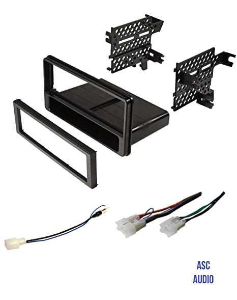 premium asc car stereo dash install kit, wire harness, antenna adapter to  install a
