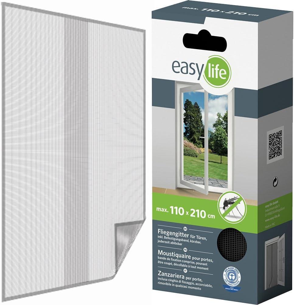 Easy Life Moustiquaire de porte avec ruban autocollant 110*210 cm blanc