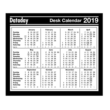 dataday year to view 2019 desk calendar f477