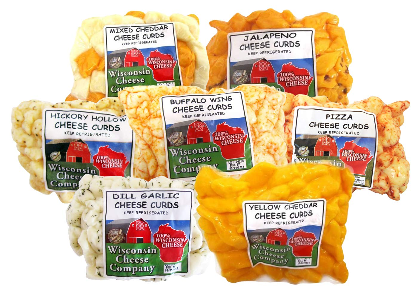 WISCONSIN CHEESE COMPANY'S, Wisconsin Classic Cheese Curd Sampler (5.25lbs) Mixed, Garlic Dill, Jalapeno, Yellow, Buffalo Wing, Pizza and Hickory Hollow (Smoked) Cheese Curds