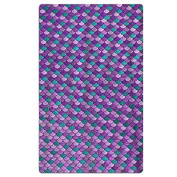 Perfect Gifts - Toalla de microfibra de alta calidad para viajes, playa, piscina, yoga, gimnasio, diseño de sirena, color morado: Amazon.es: Hogar