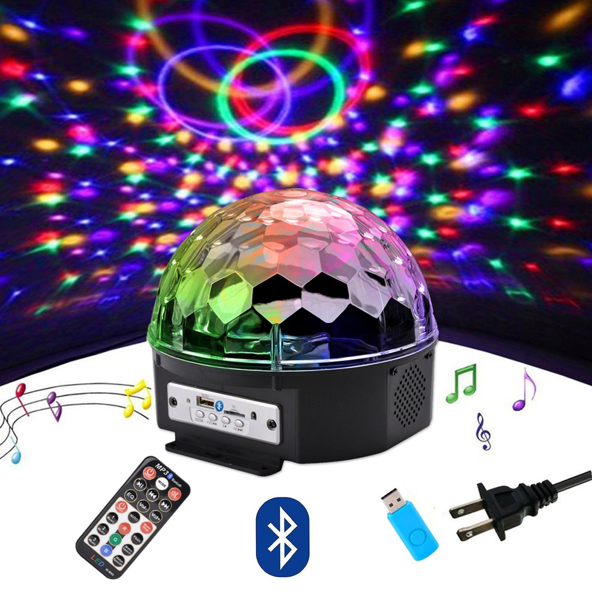 Outgeek DJ Lights, 9 Color LED Bluetooth Stage Lights DJ Stage Lighting Rotating Crystal Magic Ball Light Sound Activated Light with Remote Control MP3 Play and USB for Disco Xmas KTV Club Pub Show by Outgeek
