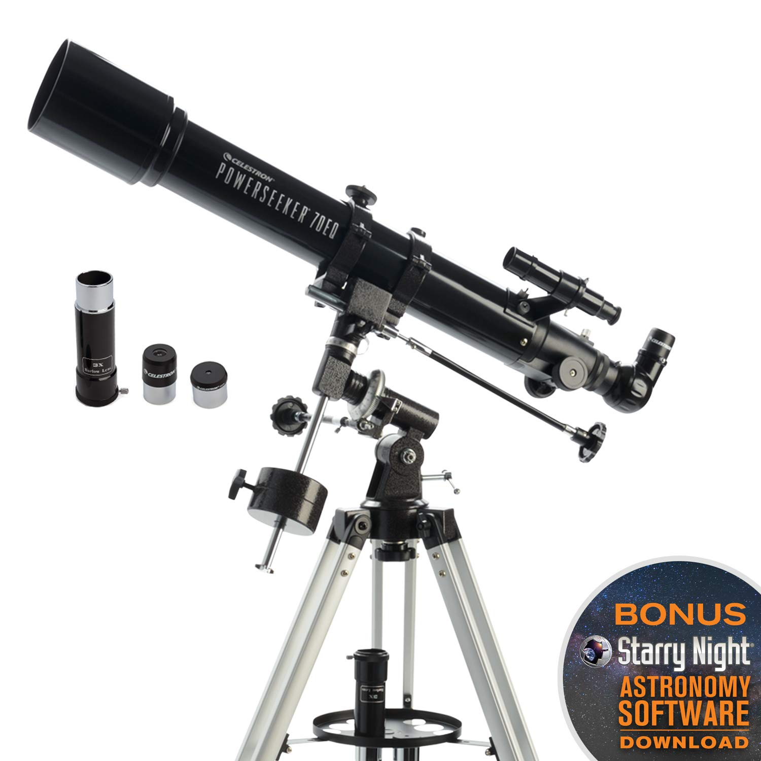 Celestron - PowerSeeker 70EQ Telescope - Manual German Equatorial Telescope for Beginners - Compact and Portable - BONUS Astronomy Software Package - 70mm Aperture by Celestron