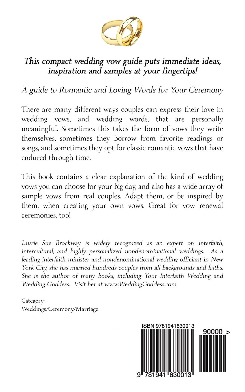 Your perfect wedding vows a guide to romantic and love words for your perfect wedding vows a guide to romantic and love words for your ceremony laurie sue brockway 9781941630013 amazon books junglespirit Gallery