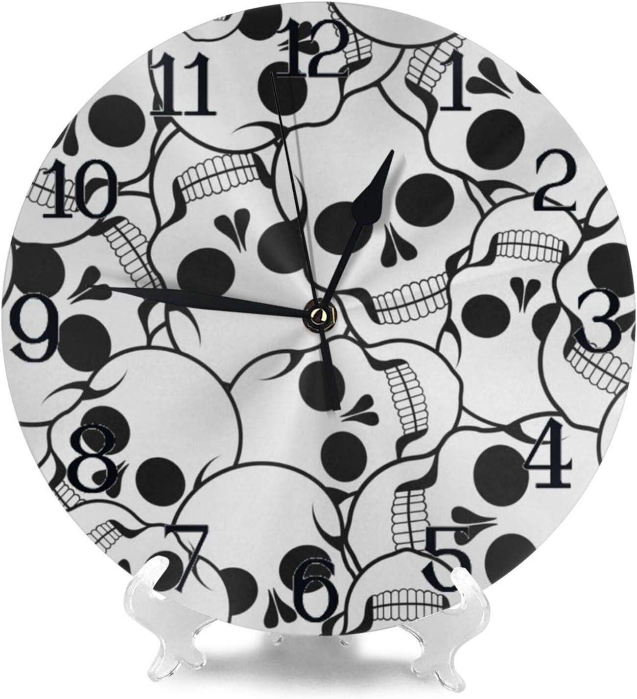 Wall Clock Large Halloween Skulls Pattern Non Ticking Kitchen Bedroom Bathroom Wall Clocks Battery Operated Silent Outdoor Desk Cute Clock Living Room Decor for Kids Womens