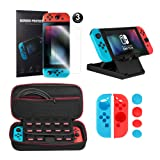 Younik 10 in 1 Nintendo Switch Accessory Kit, include Nintendo Switch Carrying Case / Joy-Con Grip / Adjustable Stand / HD Screen Protector (3 Packs)