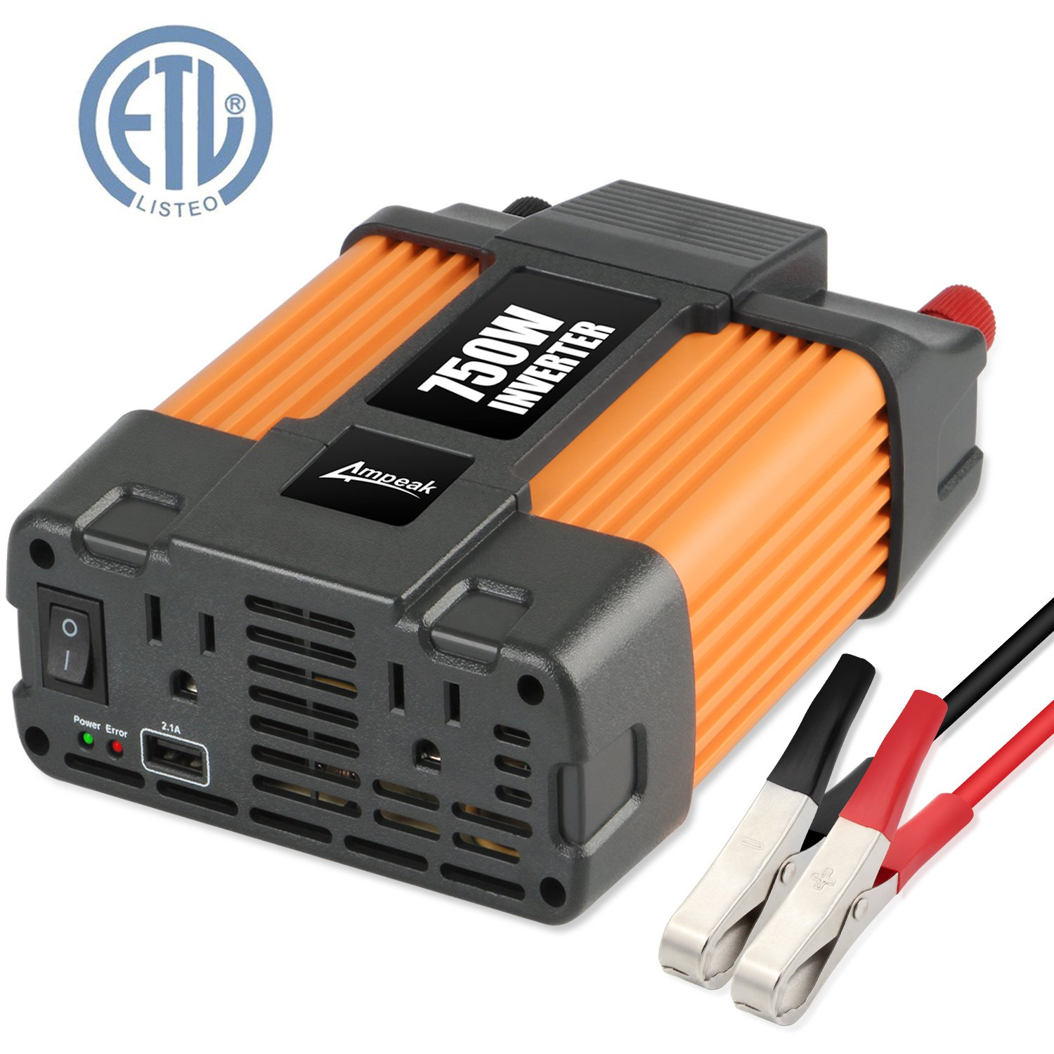 Ampeak 750W Power Inverter DC 12V to 110V AC Converter with 2.1A USB Dual AC Outlets Car Inverter by Ampeak