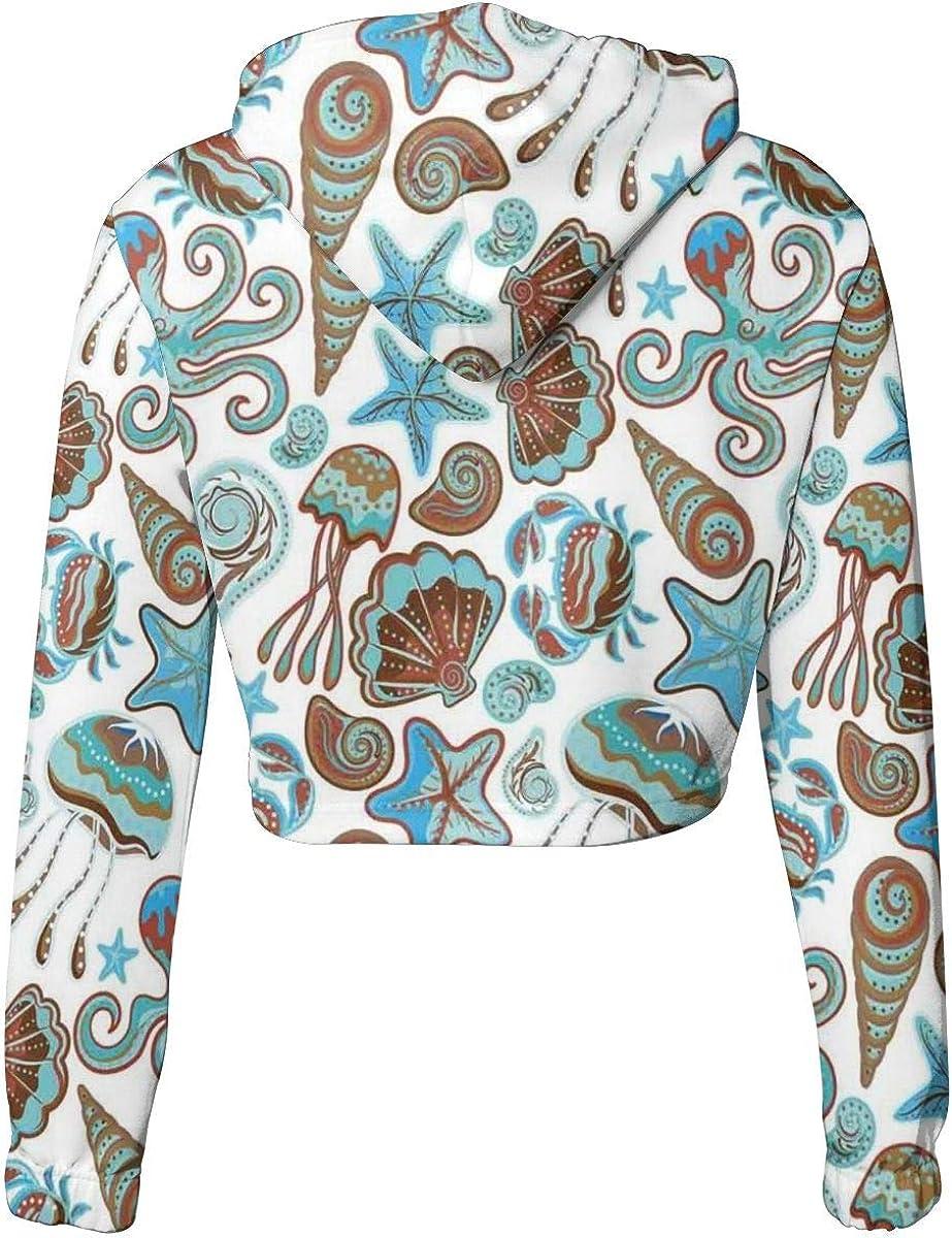 GULTMEE Womens Cropped Hoodie,Frame with Seashells Starfish Stones Frangipani Exotic Flower Pattern Print,S-XL