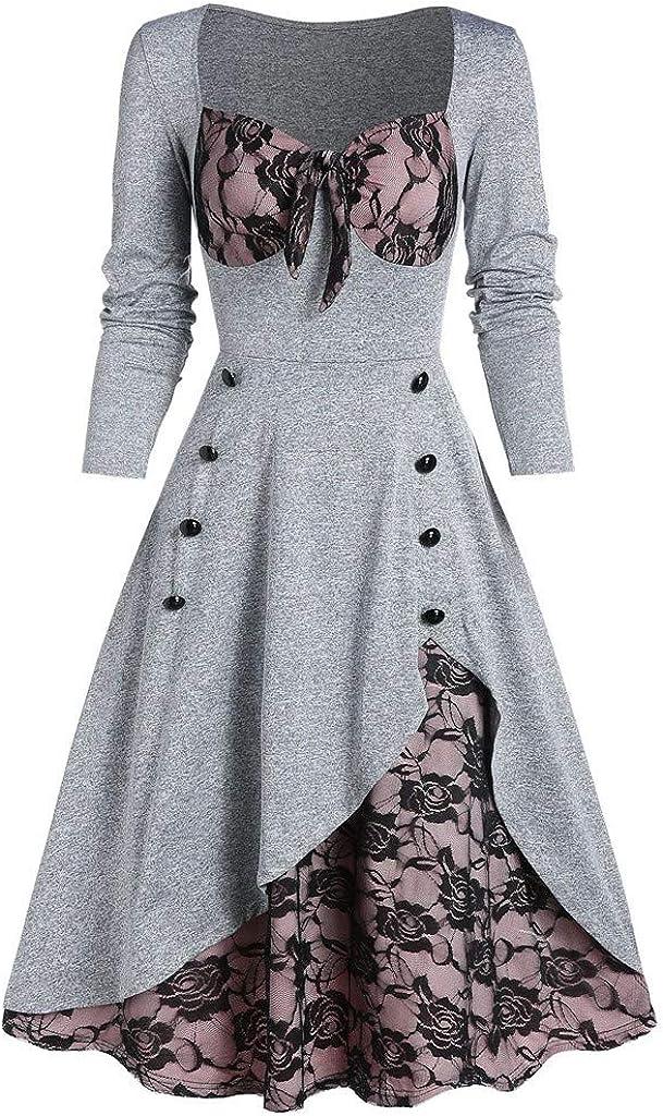 Bumplebee Robe de Soir/ée Femme Grande Taille Vintage Chic Robe Fleur Dentelle Robe Trap/èze Ins/érer Faux Bouton Bowknot Robe Au Genou
