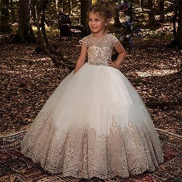 450cb6f5c0 Concurso de belleza de chicas Falda de encaje para niña de flores Sin  mangas Rendimiento Chica