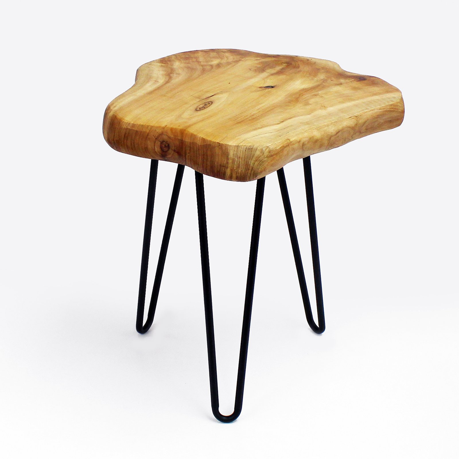 WELLAND Live Edge Side Table with Hairpin Legs, Natural Edge Side Table, Small Nightstand Wood, 15.5'' Tall by WELLAND (Image #3)