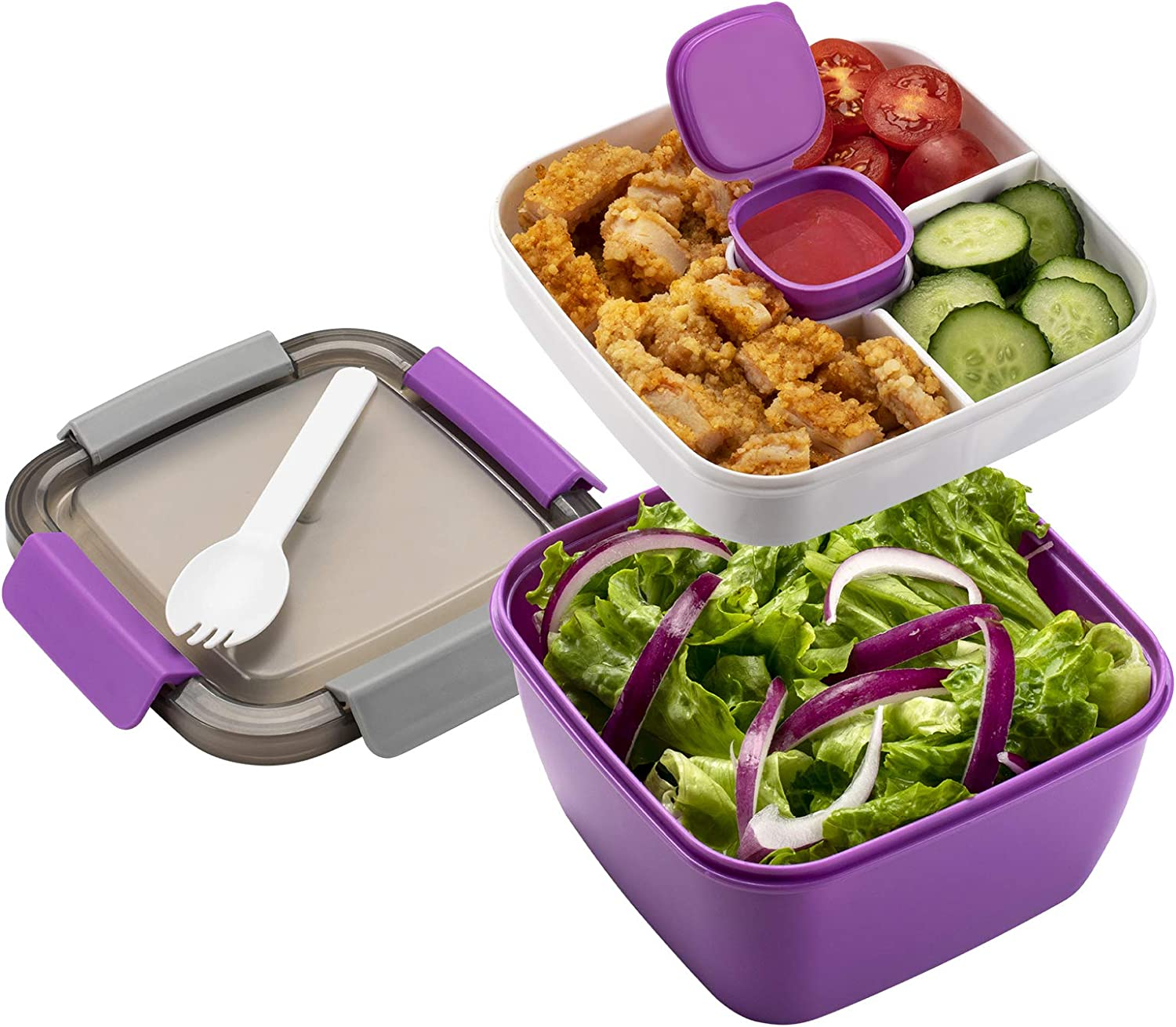 Freshmage Salad Lunch Container To Go, 52-oz Salad Bowls with 3 Compartments, Salad Dressings Container for Salad Toppings, Snacks, Men, Women (Purple)