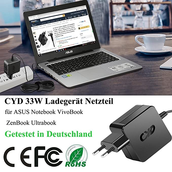 CYD 33W PowerFast-Portátile-Cargador para ASUS Eee Box AD883J20 AD883220 G1 G2 L3 L5 L8 S5 U3 U5 U6 W3 W7 Z3 Z7 Z9 A53S A53U A450 A52F A53E A54C A55A ...