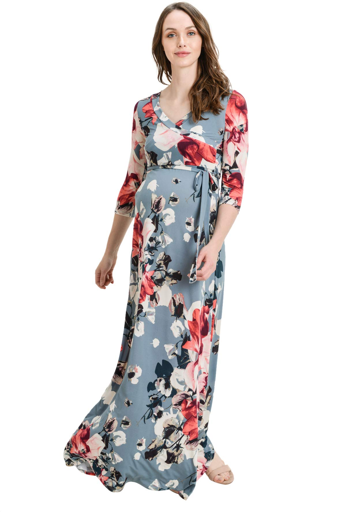 Hello MIZ Women's Floral Print Draped 3/4 Sleeve Long Maxi Maternity Dress (Chambray/Pink, L)