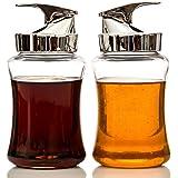 NON DRIP Glass Syrup Jar/Dispenser, 14oz Capacity – 2 Piece Set with Retracting Spout, - Durable Construction