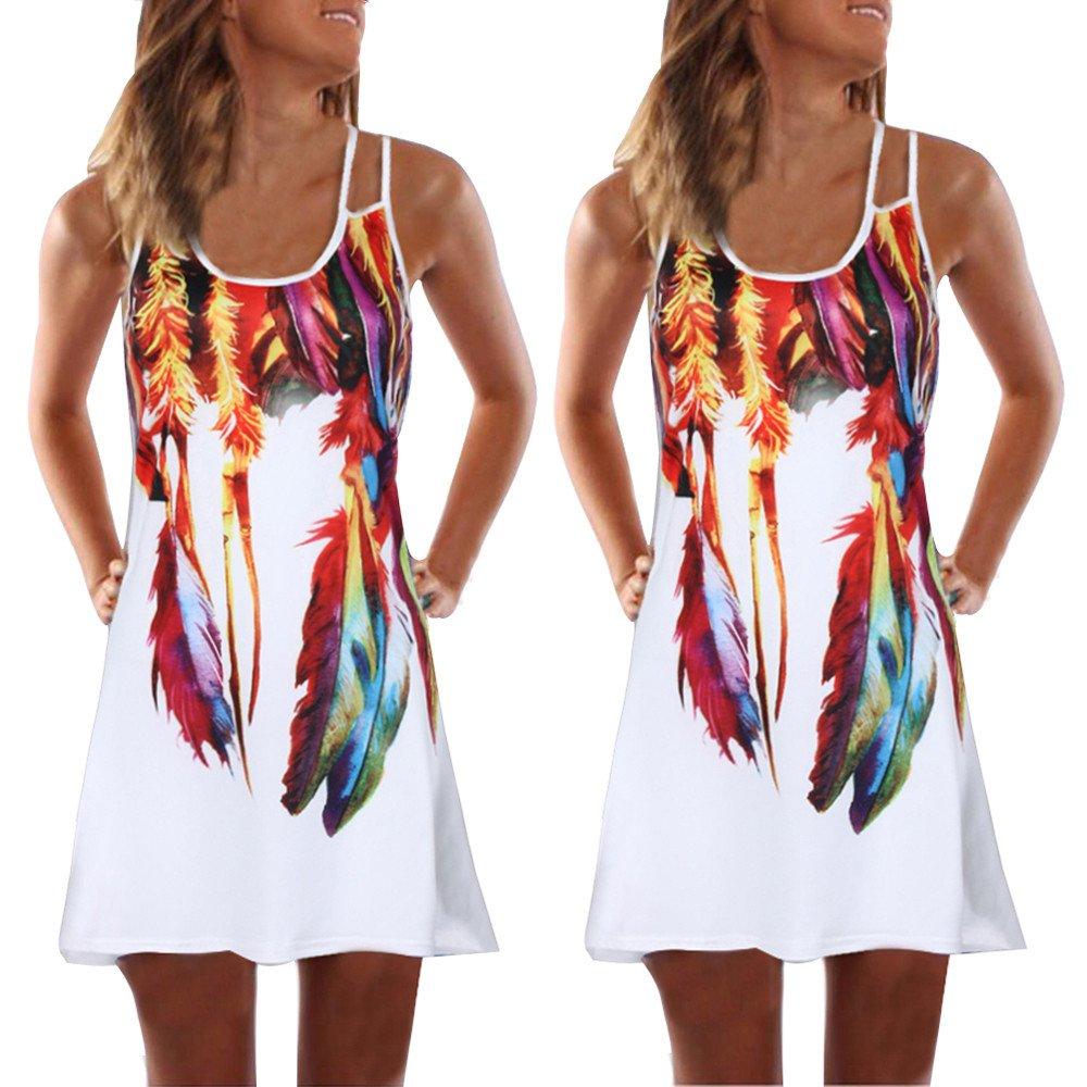 Women Bohemian Sundress Summer Loose Floral Printed Casual A Line Mini Vest Dresses Sleeveless Tank Dress (White 1H, L)