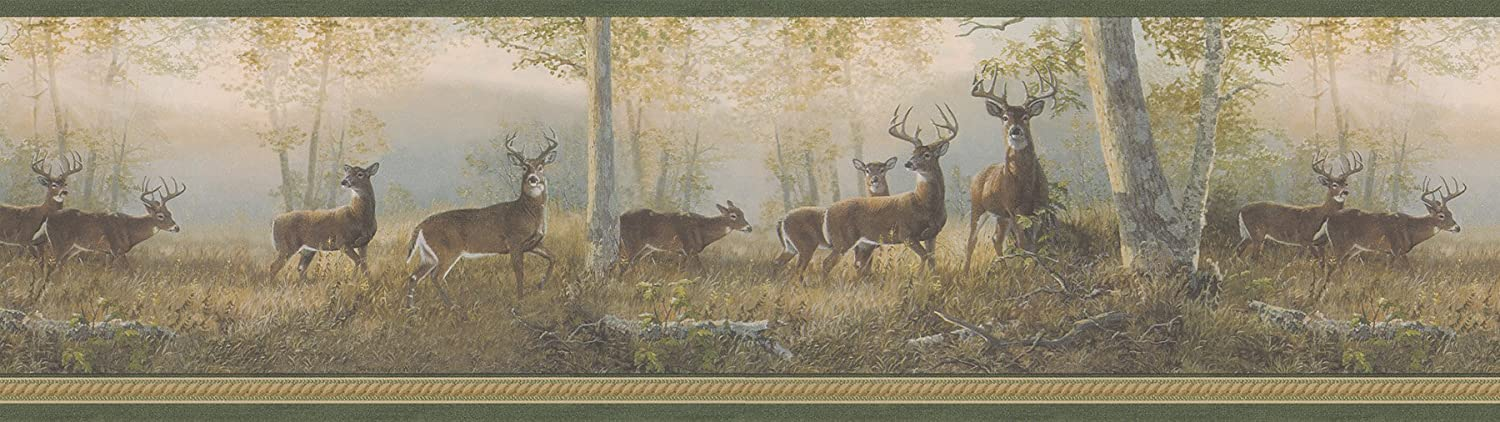 Brewster 145B44341 Northwoods Lodge Running Green Deer Border Wallpaper,Yellow-Green