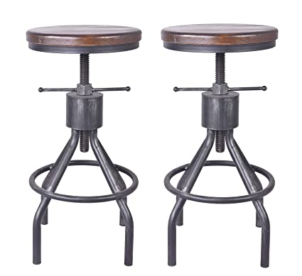 Stupendous Lokkhan Vintage Industrial Bar Stool Height Adjustable Round Wood And Metal Swivel Bar Stool Cast Iron Pub Height Stool Assembly Not Required 22 34 Ibusinesslaw Wood Chair Design Ideas Ibusinesslaworg