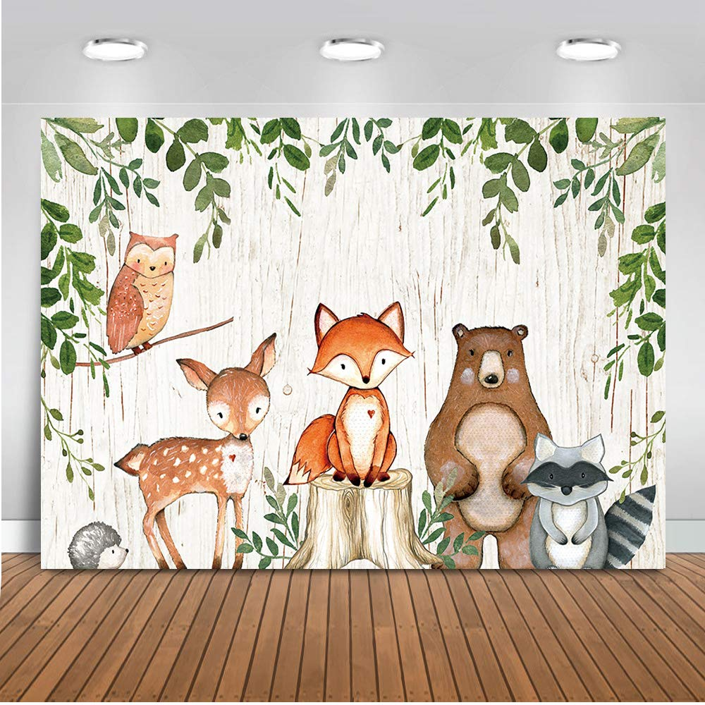 Mehofoto Woodland Baby Shower Birthday Backdrop Woodland Animals Photography Background 7x5ft Vinyl Woodland Baby Shower Party Backdrops