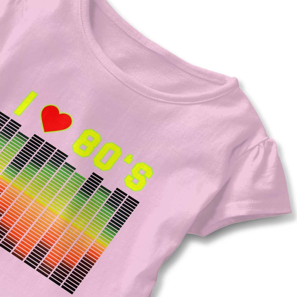 2-6 Years Love Cows Baby Girls Short Sleeve Ruffle Tee Cotton Kids T Shirts