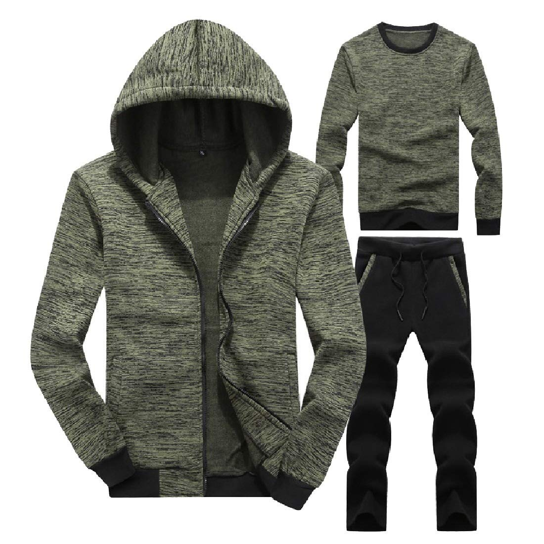Comaba Mens Mid Waist Hooded Plus Size Zip Set 3-Piece Lounge Sweatsuit Set