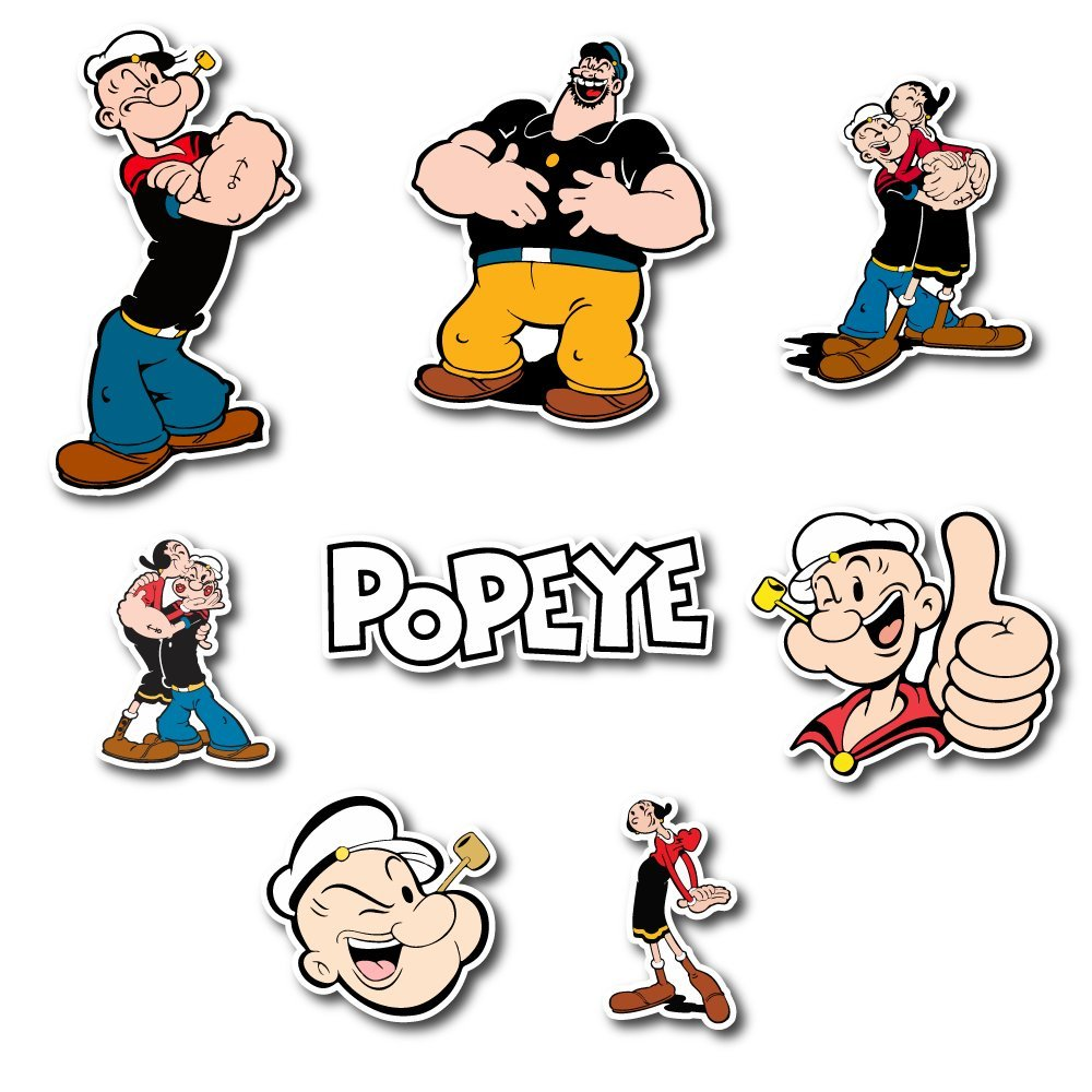 Amazon com popeye set sticker olive oyl bluto pack cartoon decal for car window bumper laptop skateboard wall etc set 075 home kitchen
