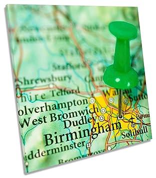 Birmingham Karte.Amazon De Karte Birmingham City Auf Leinwand Quadratisch