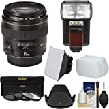 Canon EF 85mm f/1.8 USM Lens with 3 Filters + Hood + Flash & 2 Diffusers + Kit