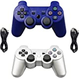Navor 2 Packs Generic Wireless Bluetooth 6-Axis Gamepad Controllers Compatible for Playstation 3 - with 2 pcs Charging Cables