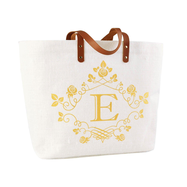 ElegantPark E-Initial Monogram 100% Jute Personalized Jumbo Tote Bag with Handle and Interior Pocket