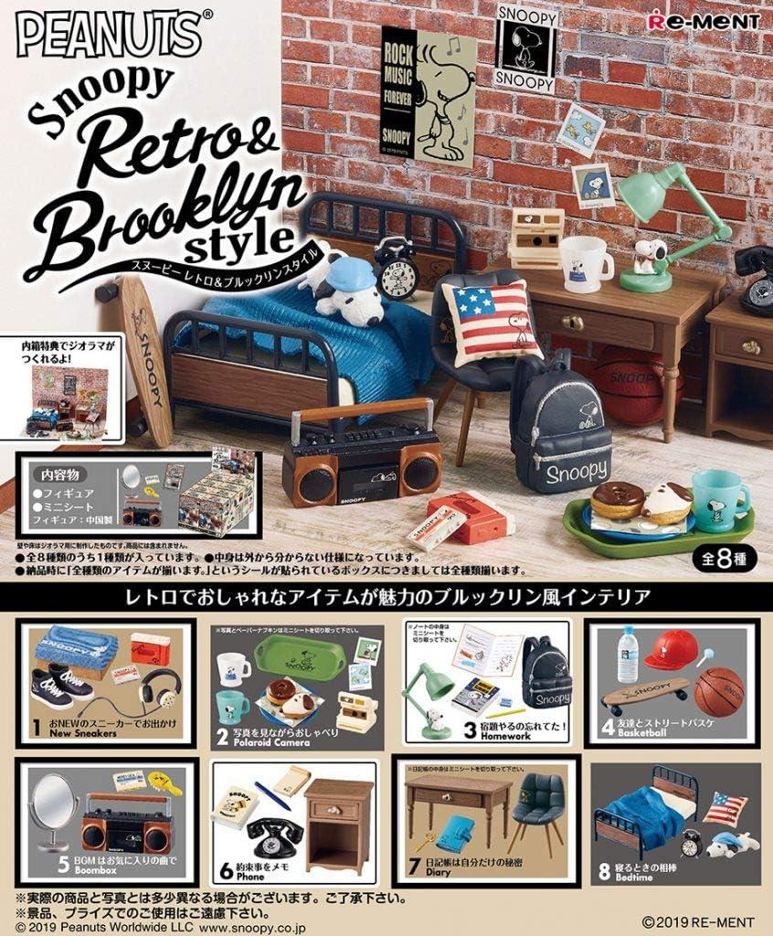 Re-Ment Miniature Peanuts Snoopy Retro Brooklyn Style Room Furniture Full Set 8 Packs