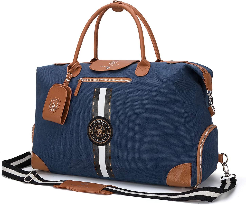 Dufflebag 42-51l blau modischer Weekender GENTLEMAN SYLT Reisetasche mit Notebookfach Sporttasche mit Schuhfach