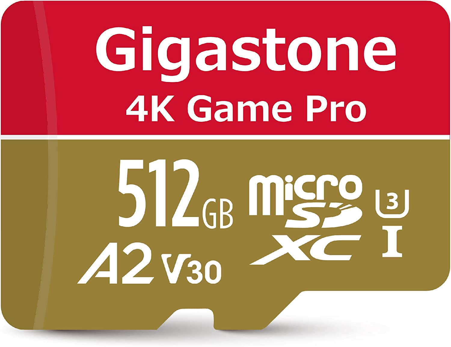 Gigastone 512GB Micro SD Card, 4K Game Pro, Nintendo Switch Compatible, 4K Video Recording, R/W up to 100/80MB/s, Micro SDXC UHS-I A2 V30 Class 10