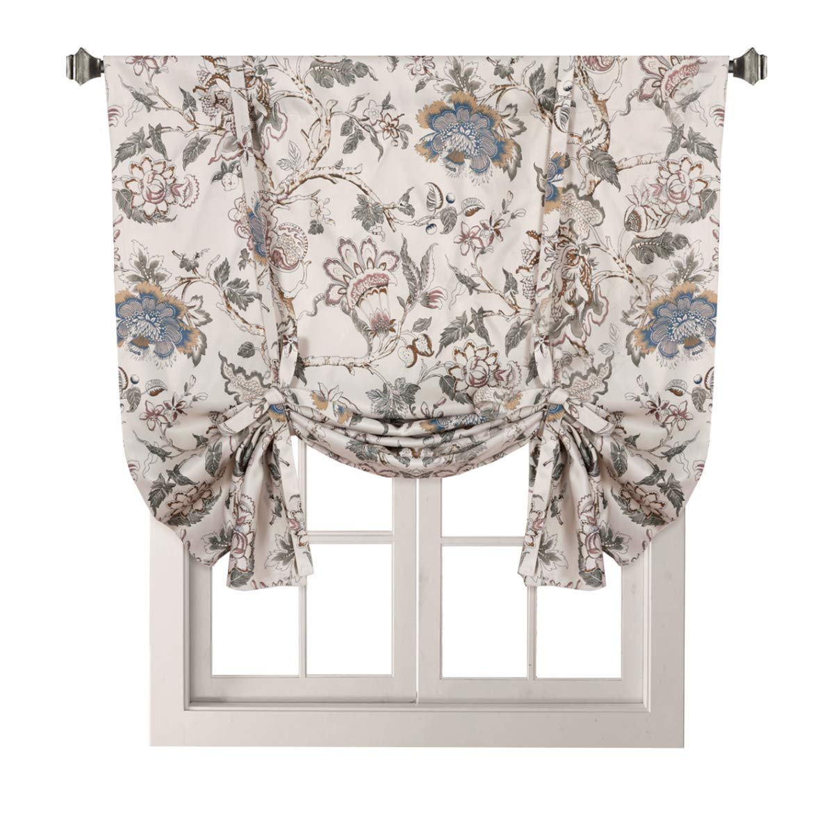 "H.VERSAILTEX Thermal Insulated Blackout Curtain Adjustable Tie Up Shade Rod Pocket Panel for Small Window-42 Wide by 63"" Long-Vintage Floral Pattern in Sage and Brown"