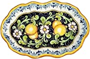 CERAMICHE D'ARTE PARRINI - Italian Ceramic Art Pottery Serving Bowl Centerpieces Tray Plate Hand Painted Decorative Lemons Ma