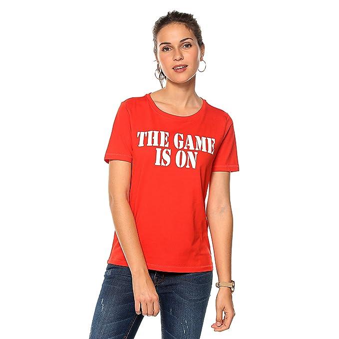 comprar online revisa paquete elegante y resistente Camiseta Manga Corta Mujer con Estampado Frontal Metalizado ...