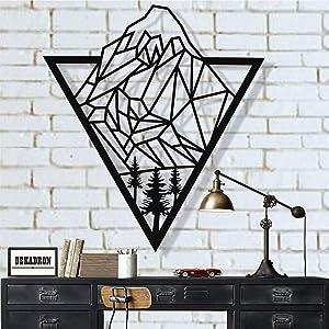"Metal Mountain Art, Metal Wall Art, Geometric Mountain and Tree, Metal Wall Decor, Office Decoration, Living Room Decor, Wall Hangings (30""W x 25""H / 75x63 cm)"