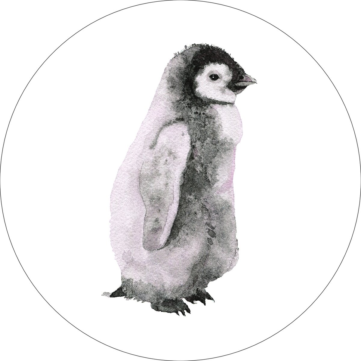 Penguin Home Wall Shelf Decor Animal Decorations Watercolor Round Sign - 12 Inch, Plastic