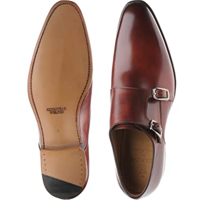Herring Shakespeare doble monje zapatos en Rosewood Calf, color Marrón, talla 45.5