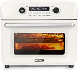 Hauswirt 26 Qt 1200W Air Fryer Oven with Digital Timer, Separate Upper and Lower Heat Control, 10-IN-1 Kitchen Appliance with 85? to 450? Temerature Range For Air Fry, Bake, Dehydrate, Roast, Broil, Toast, Ferment, Reheat, Grill, Rotisserie - Retro White